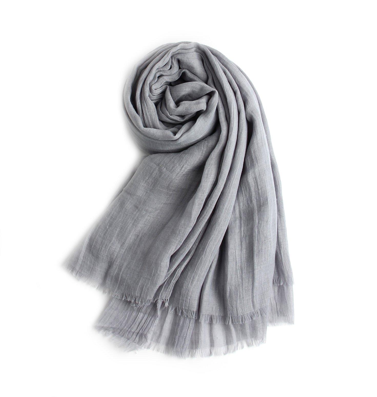 MolVee Linen Warm Scarf Shawl Women Men Solid Color Wrap Beach Towel (046-Light Grey)