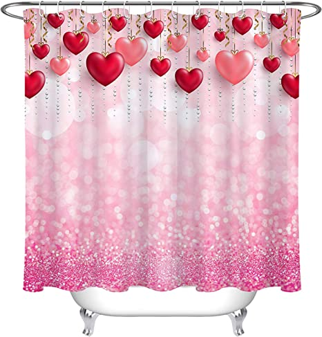Waterproof Fabric Valentine Pink Background Love Heart Bathroom Shower Curtain