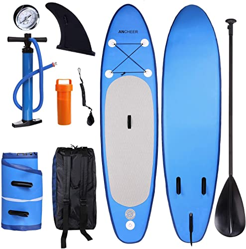 ANCHEER Inflatable Stand Up Paddle Board 10 , Inflatable SUP Board, Double Layer iSUP Package w Adjustable Paddle, Leash, Pump and Backpack