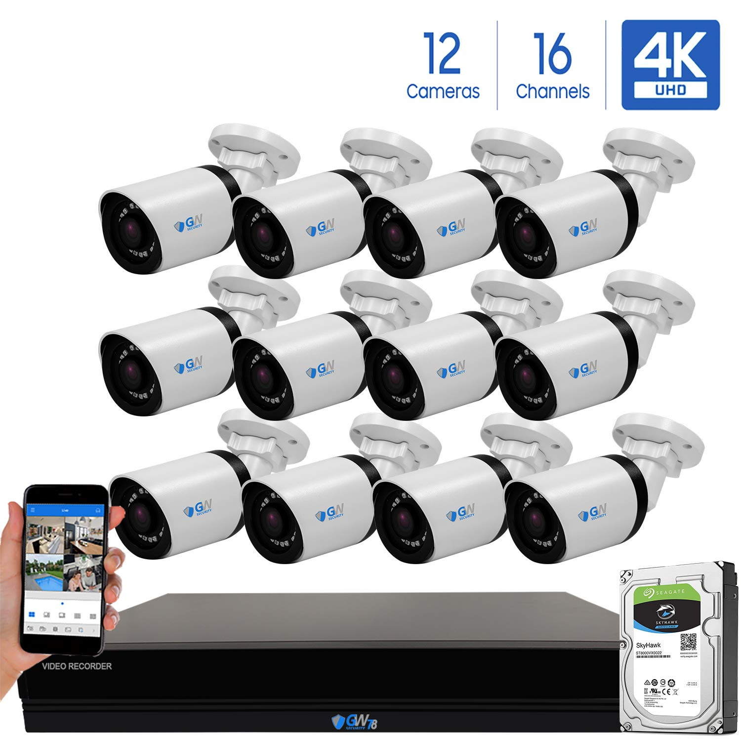 GW 16 Channel 4K H.265 CCTV DVR Security System with 12 x HD 8MP 2160P Outdoor Indoor 4K Bullet Security Cameras, 100ft Night Vision, 4TB Hard Drive Pre-Installed