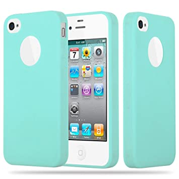 Cadorabo Funda para Apple iPhone 4 / iPhone 4S en Candy Azul – Cubierta Proteccíon de Silicona TPU Delgada e Flexible con Antichoque – Gel Case Cover ...
