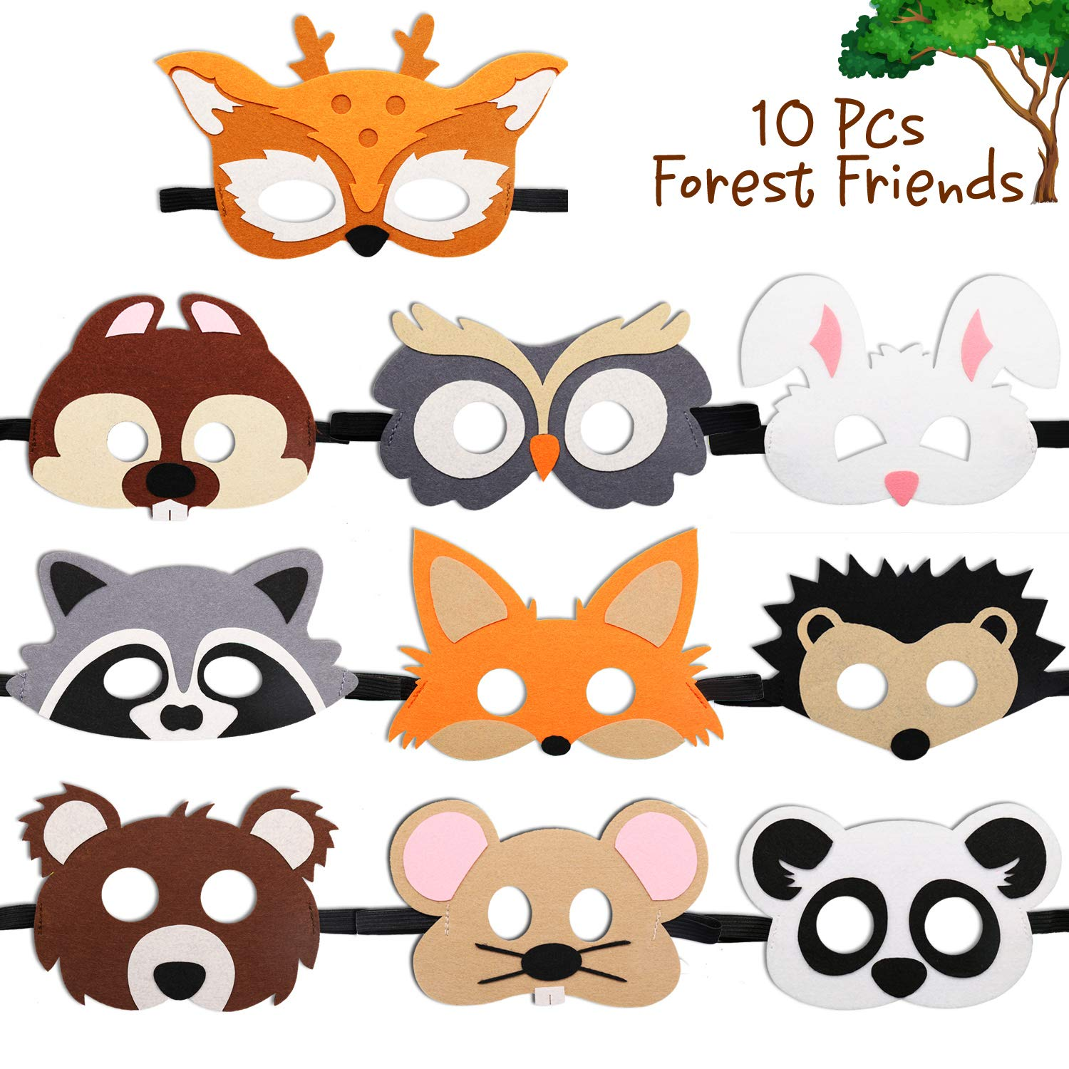 CiyvoLyeen Forest-Friends Animals Felt Masks 10 pcs Woodland Creatures Animal Cosplay Zoo Camping Themed Party Favors Supplies for Kids Boys or Girls by CiyvoLyeen