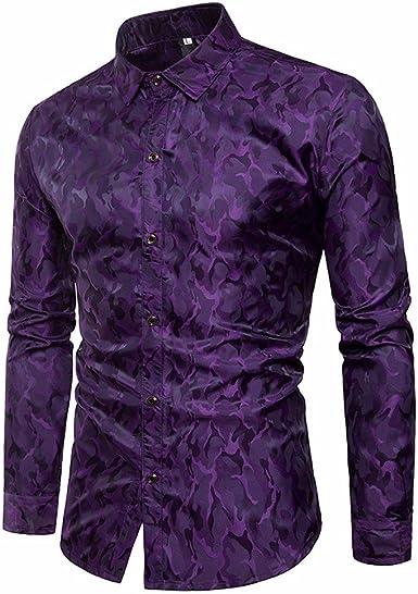 Camisas De Vestir Hombre Botones De Seda Satin Estampada Camuflaje Moda Slim Fit De Manga Larga Formal Negocio Casual Tops Básica Elásticas Blusa: Amazon.es: Ropa y accesorios