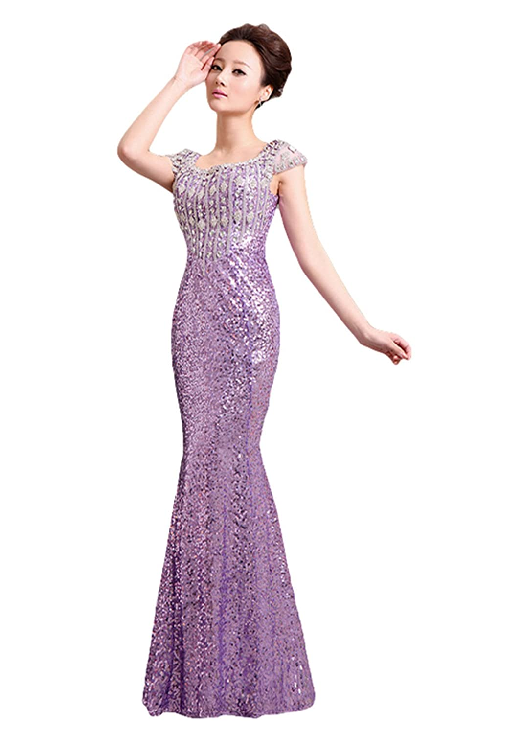 women's sexy Mermaid dress party evening dress - toast crystal sequins bridesmaid wedding dress
