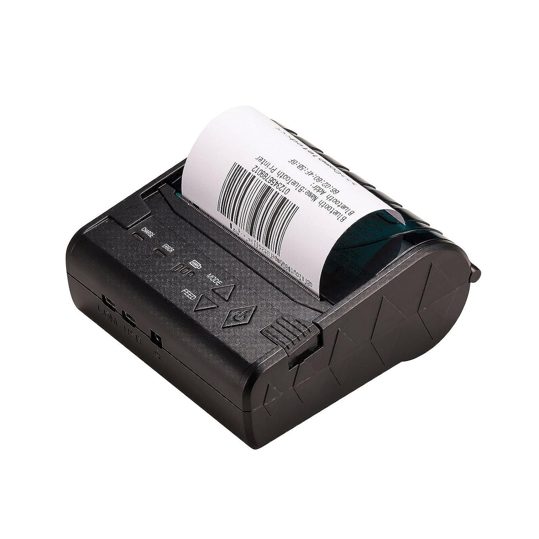 Mini Imprimante Bluetooth, 80Mm 3Inch Étiquette Imprimante Mobile Téléphone Autocollant Imprimante Avec RS232 Et Ports USB Pour Android Windows Mobile