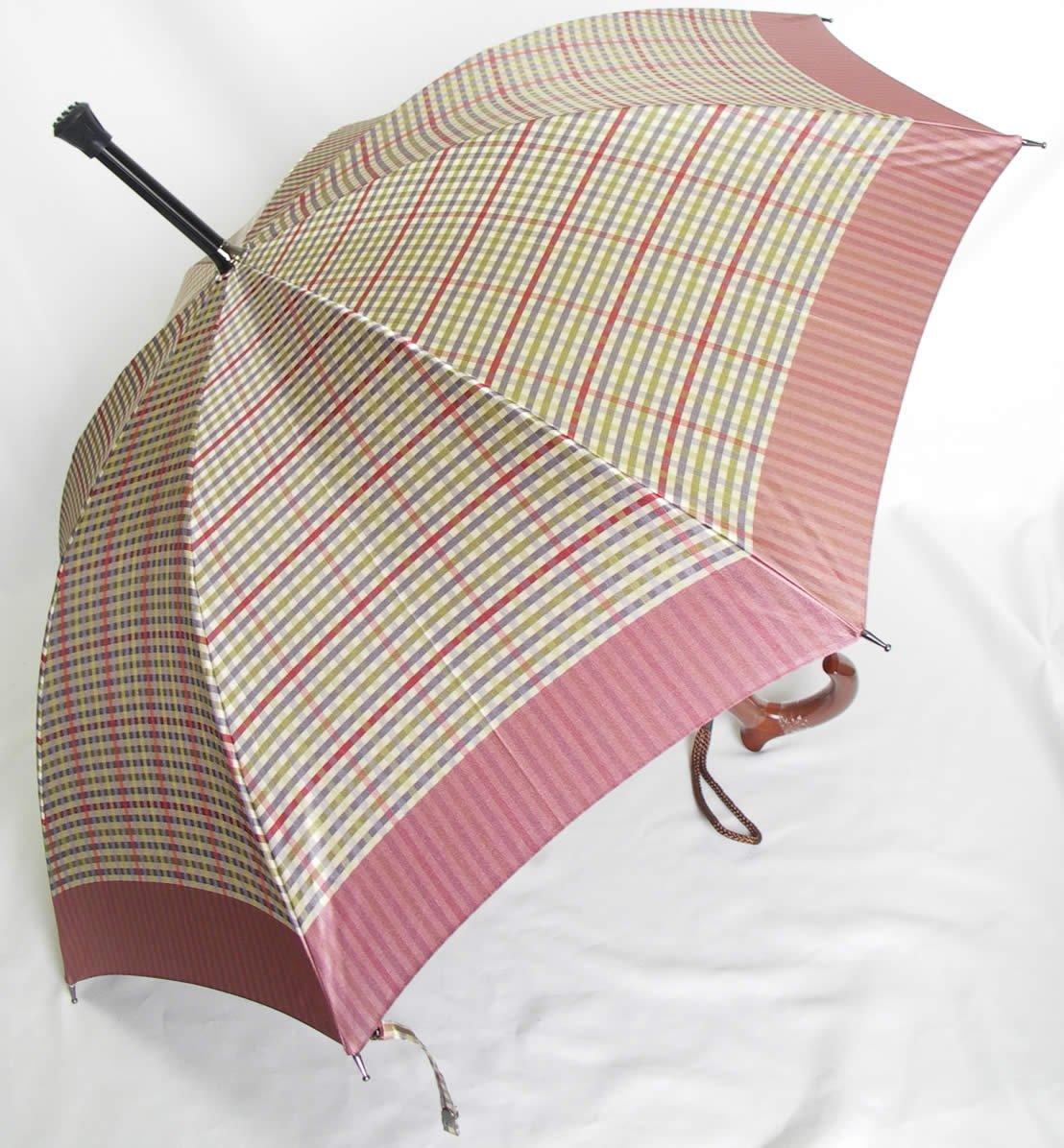 ステッキ傘 杖傘 傘杖 つえ傘 ステッキとしてご使用になれる「ステッキ傘(つえかさ)チック柄 手開き ピンク」 B01I449XR4