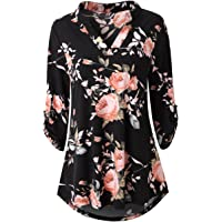 30078aa3e0b Zattcas Womens Floral Printed Tunic Shirts 3/4 Roll Sleeve Notch Neck Tunic  Top
