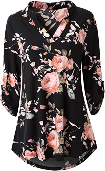 Women Xmas Gift Floral Loose Fit Casual Sweatshirt Blouse
