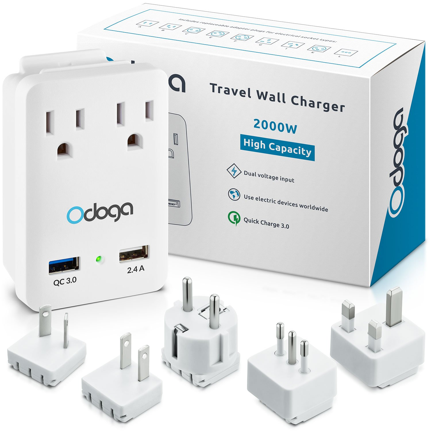 Odoga World Travel Adapter Kit ~ 2 Powerful 2000W AC Outlets ~ Quick Charge 3.0 & 2.4A USB Ports ~ Comes with Universal Travel Adapters For Europe, UK, China, Australia, Japan & More