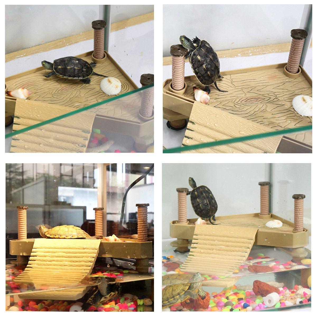 Amakunft Turtle Floating Basking Platform Terrapin Dock Frogs Reptile Ramp Pier with Ladder Aquarium Tank Accessory