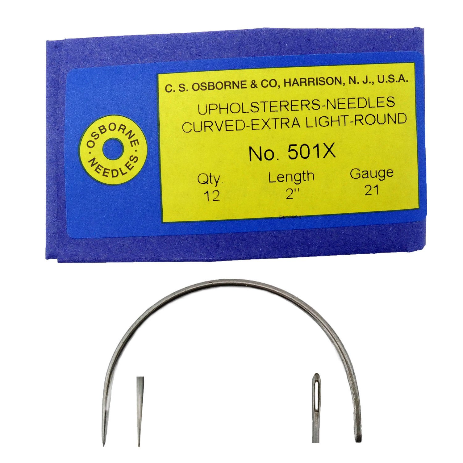 C.S. Osborne Pack Of 12 Curved Needles Extra Light #501X Size 2'' Made In USA by C.S. Osborne