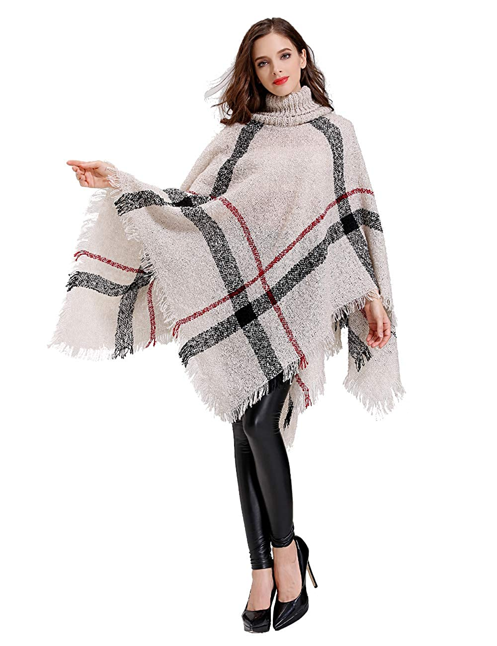 Womens Cardigan Poncho Cape, Fashion Winter Knitted Cashmere Shawls ...
