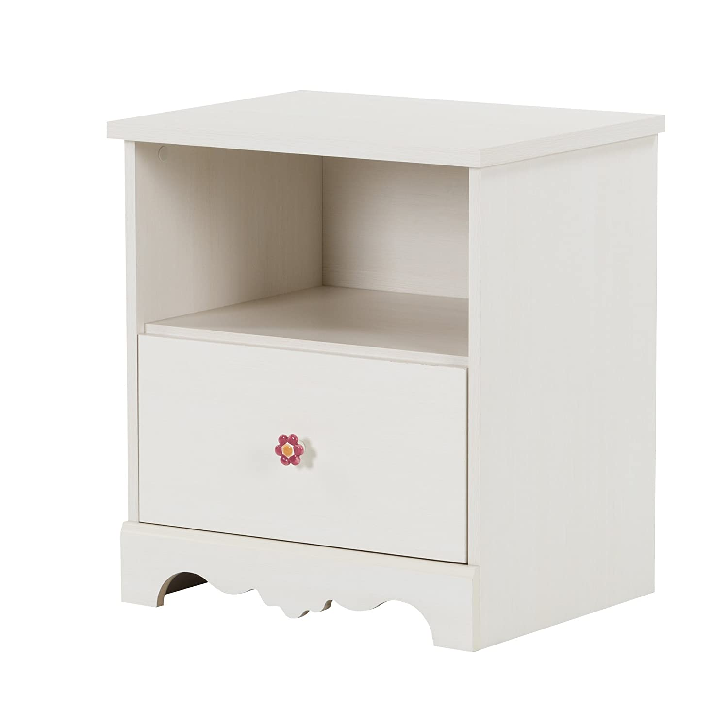 White Wash South Shore Furniture Lily Rose 1-Drawer Nightstand