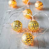 LED Globe String Lights,Goodia Battery Operated 10.49Ft 30 LED Gold Moroccan for Bedroom,Curtain,Patio,Lawn,Landscape,Fairy Garden,Home,Wedding,Holiday,Christmas Tree,Party (Warm White)