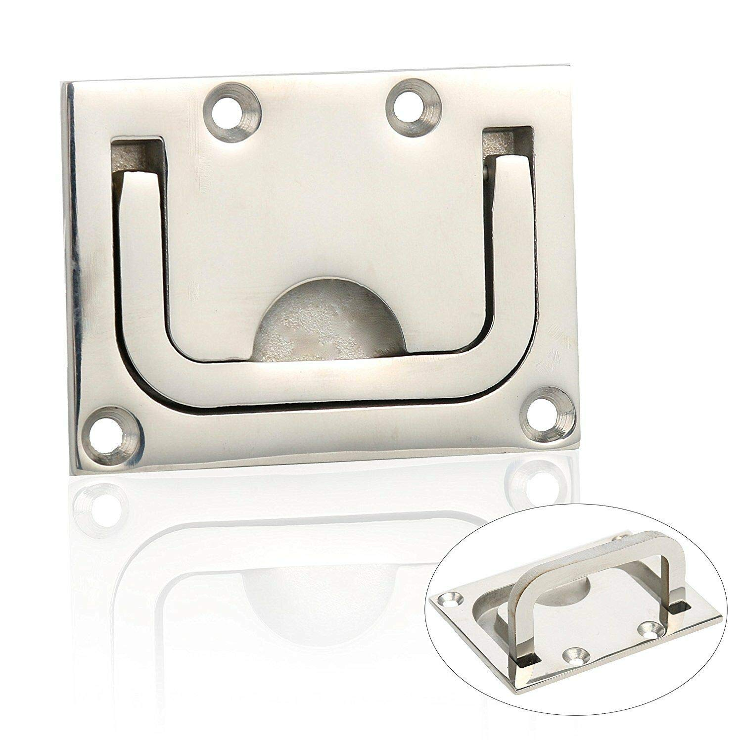 10 Stainless Steel Flush Mount Pull Ring Hatch Latch Lift Handle Marine Boat