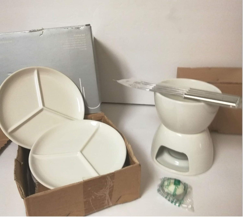 Amazon.com: Crate and Barrel White Stoneware 11-Piece Fondue ...