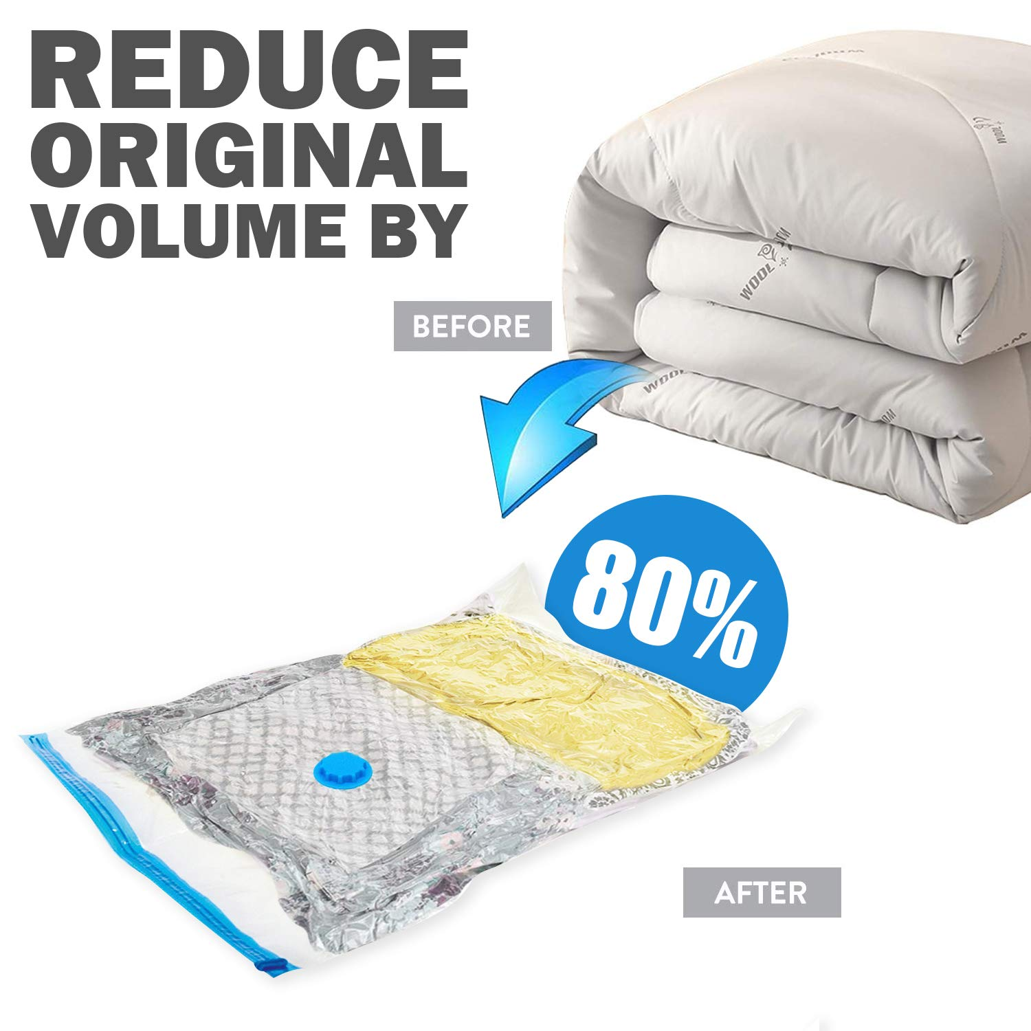 2 Jumbo+2 Extra Large+2 Medium+2 Small for Clothing Space-Saver Bags with Hand Pump Traveling Bedding Mildew-proof and Antibacterial Compression Storage Bags 8PCS Reusable Vacuum Storage Bags
