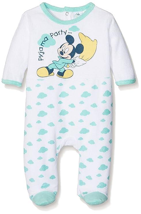 7a34231a3 Pijama terciopelo bebé niño Mickey azul y amarillo de 3 a 23 meses azul  blanco