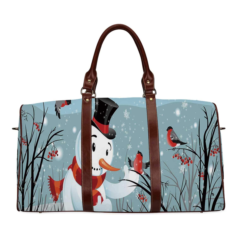 Christmas Practicality Travel Bag,Snowy Winter Tree Branches Berries Bullfinch Birds Snowman Hat Decorative for School,20.8''L x 12''W x 9.8''H by YOLIYANA