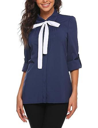 a74698e9 Zeagoo Women Bow Tie Slim Fit Cotton Plain Button Down Shirts Navy Blue S