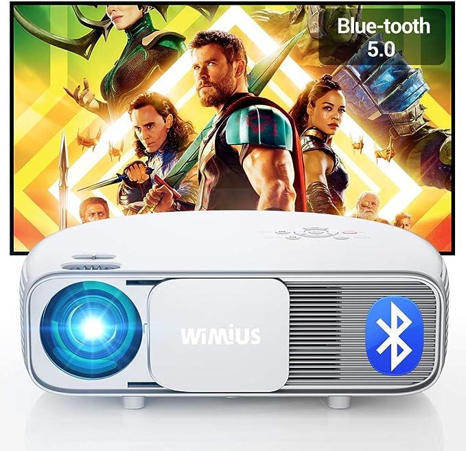Proyector Bluetooth 1080P, WiMiUS 7500 Lúmenes Proyector Full HD 1920x1080P Vídeoproyector Soporta 4K Proyector Cine en Casa, 100,000 Horas Proyector LED para Fire TV Stick, PS4, PC HDMI USB VGA AV