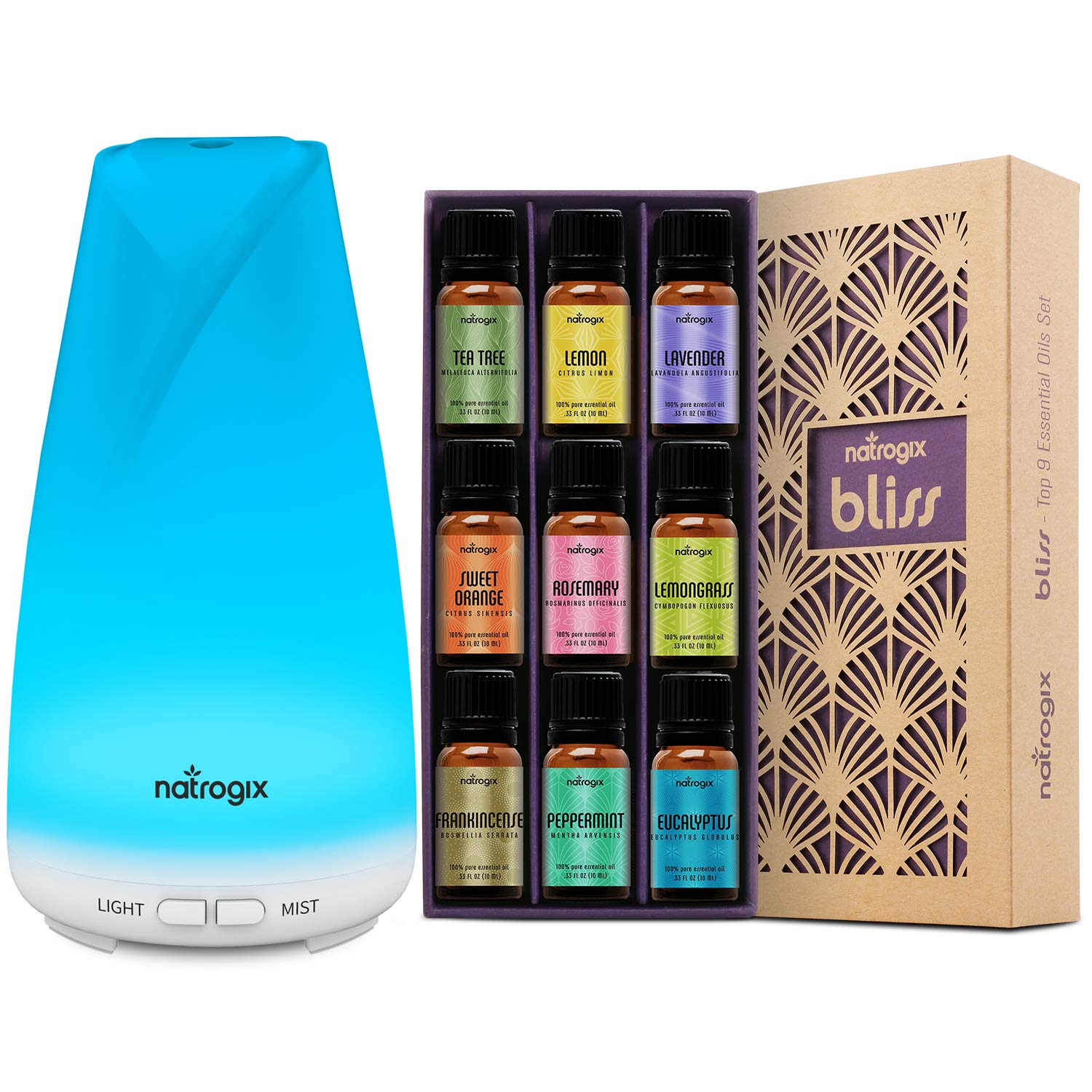 Natrogix Bliss Box - Bliss + Totem Set - Including Top 9 100% Essential Oils Set (9x10ml) and 150 ML Essential Oil Diffuser - Solution for Your Aromatherapy Life by Natrogix