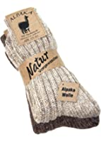 2 Paar Alpaka Socken dick u. weich mit Alpaka, Naturfarben