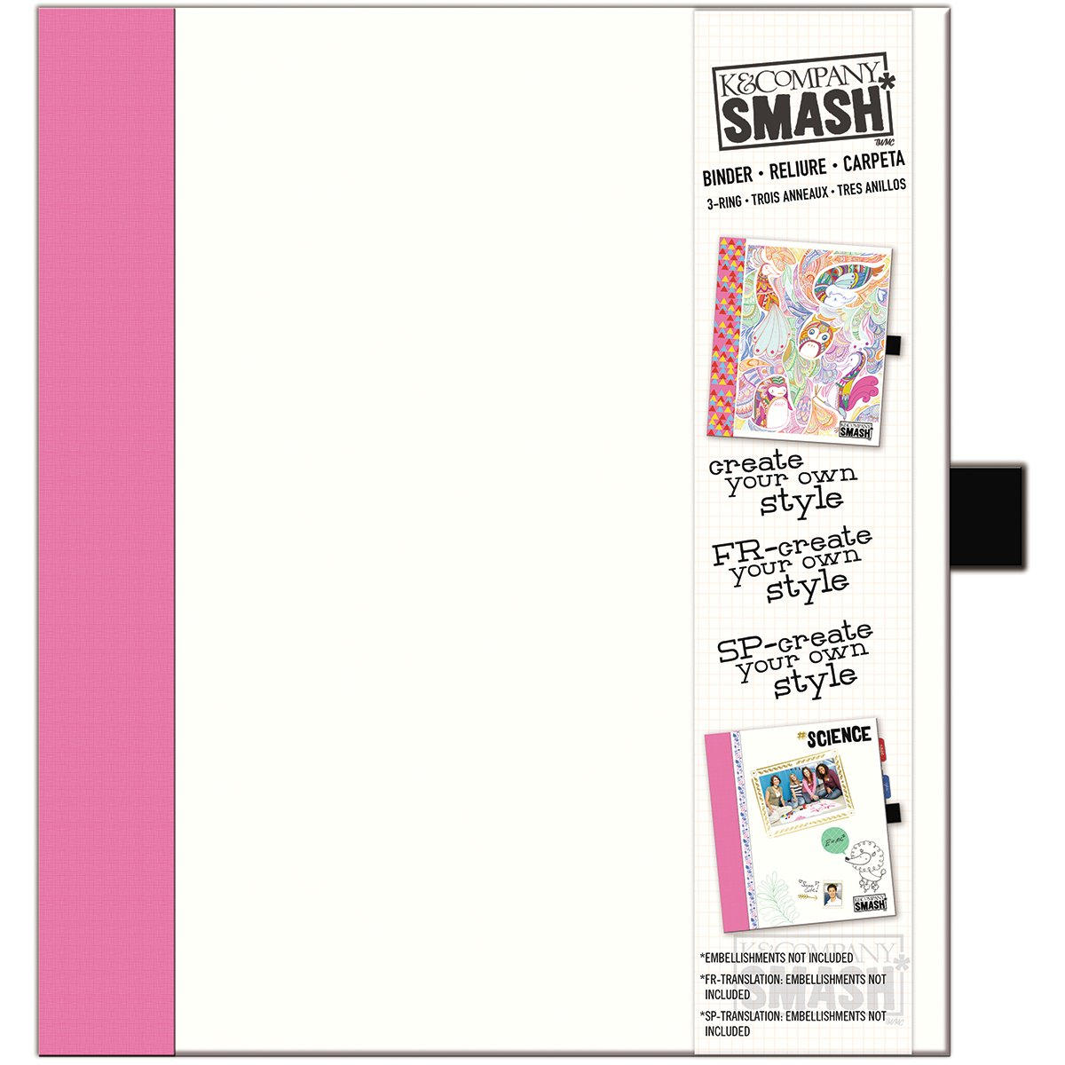 K&Company 30-685987 SMASH Paper Binder, White with Pink