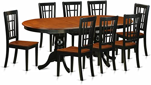 PLNI9-BCH-W 9 PC Dining room set-Dining Table with 8 Wooden Dining Chairs