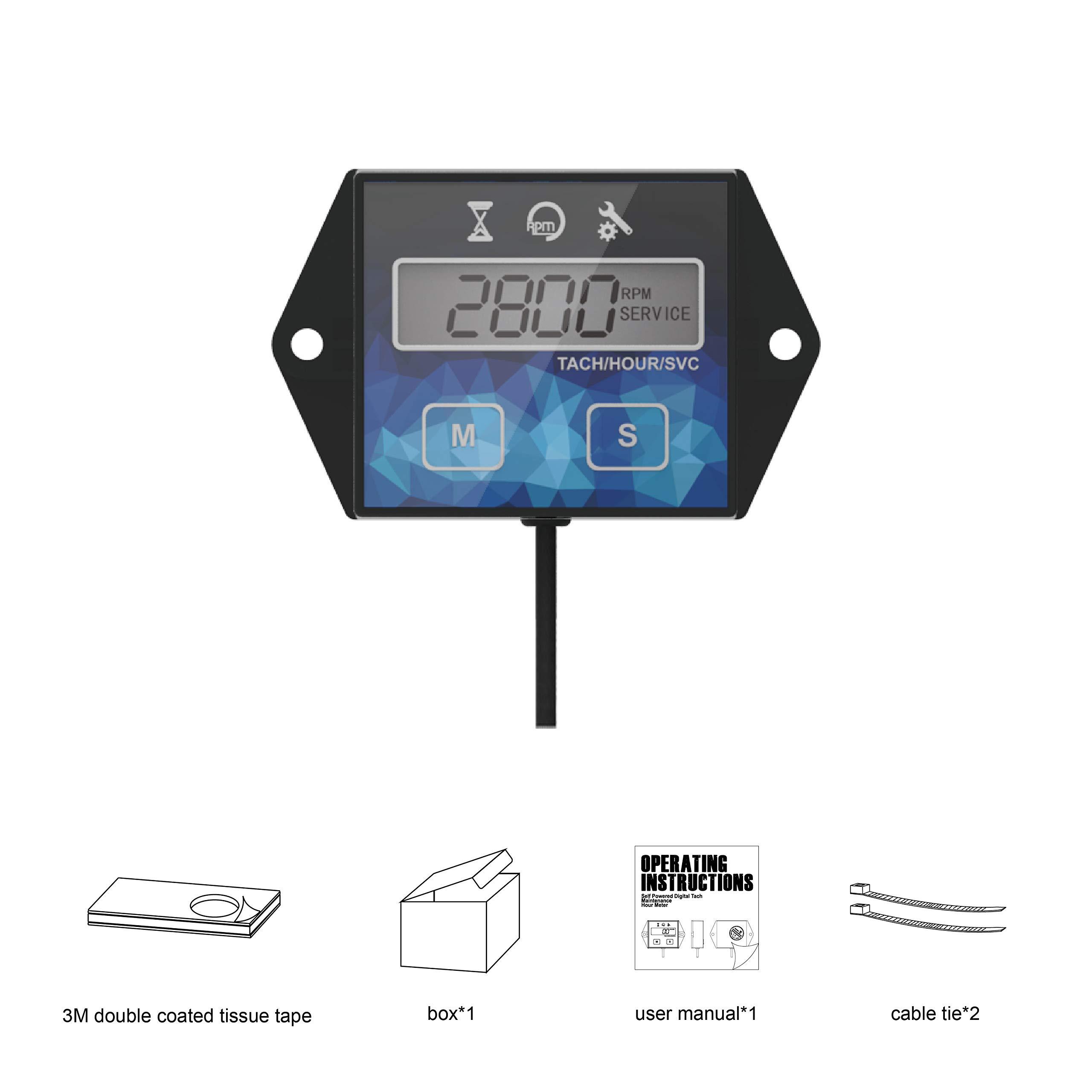 Digital Hour Meter,Maintenance Tachometer for Chainsaw Mower Generator Blue