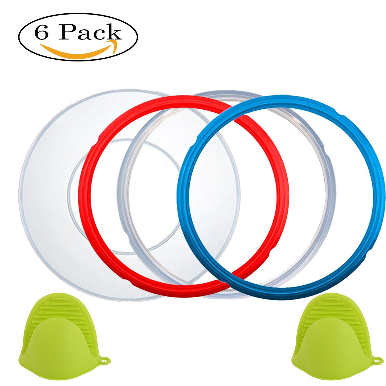 Instant Pot Accessories Silicone Lid Cover 6 Quart + Silicone Sealing Ring gasket 5 or 6 quart + Free Silicone Oven Mitts, Sweet and Savoury,Common Clear Edition Ring Fit IP Models by Nice-Components