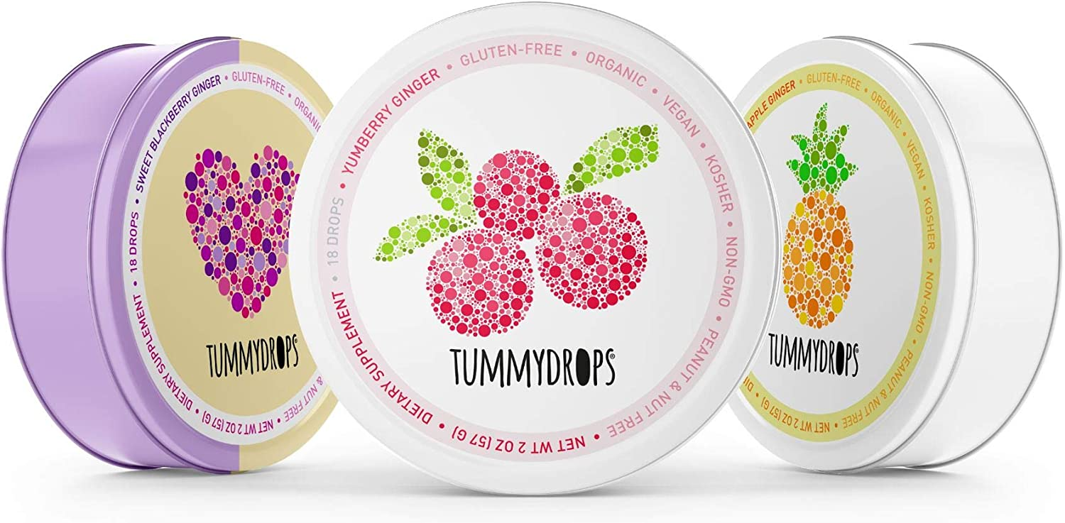 Tummydrops Variety Pack: The Organic Mellow(ish) Ginger Pack (1 tin Each Sweet BlackBerry, Yumberry, and Pineapple Ginger-Total of 54 Drops)