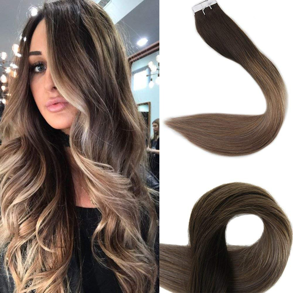 Full Shine 16'' Remy Tape in Hair Extensions Skin Weft Hair Extensions Ombre Balayage Color #2 Fading to #6 and #18 Ash Blonde Tape Hair Extensions Good Quality 50g 20Pcs/Package by Fshine