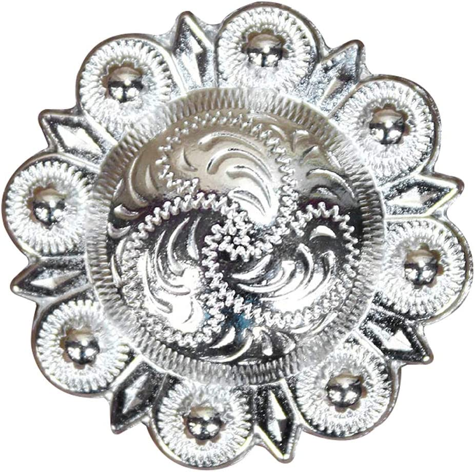 C-TY08 Set Of 8 Screw Back Concho Crystal Bling Glittering Stone Nickle Hilason
