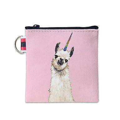 Amazon.com: Bolso de lona rosa Llama Unicornio monedero de ...