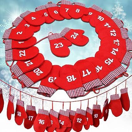 Calendario Dellavvento In Feltro.Jago Calendario Dell Avvento Con Feltro 24 Borse Sotto Forma Di Guanto