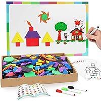 Joy Dynasty 190 Pcs Magnetic Pattern Blocks Set Geometric Manipulative Shape Puzzle Educational Montessori Tangram…