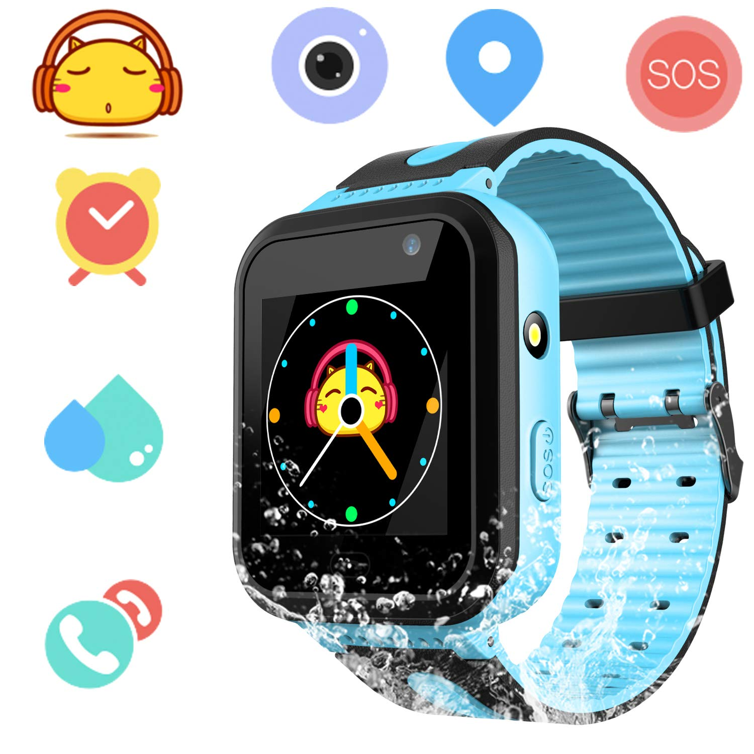 Waterproof Smart Watch Phone for Kids - IP67 Waterproof Watches with SOS Voice Chat Camera Flashlight Alarm Clock Digital Wrist Watch Smartwatch for ...