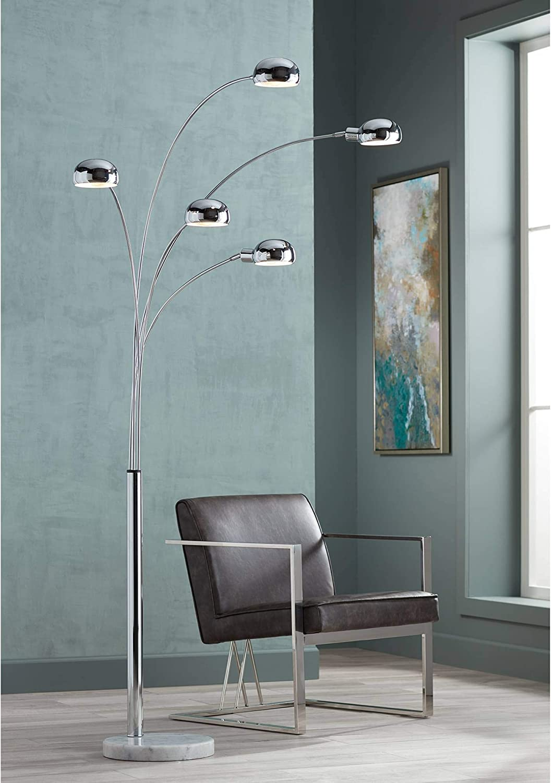 Infini Mid Century Modern Arc Floor Lamp 5 Light Chrome Marble Base Swivel Dome Shades For Living Room Reading Possini Euro Design Mid Century Lighting