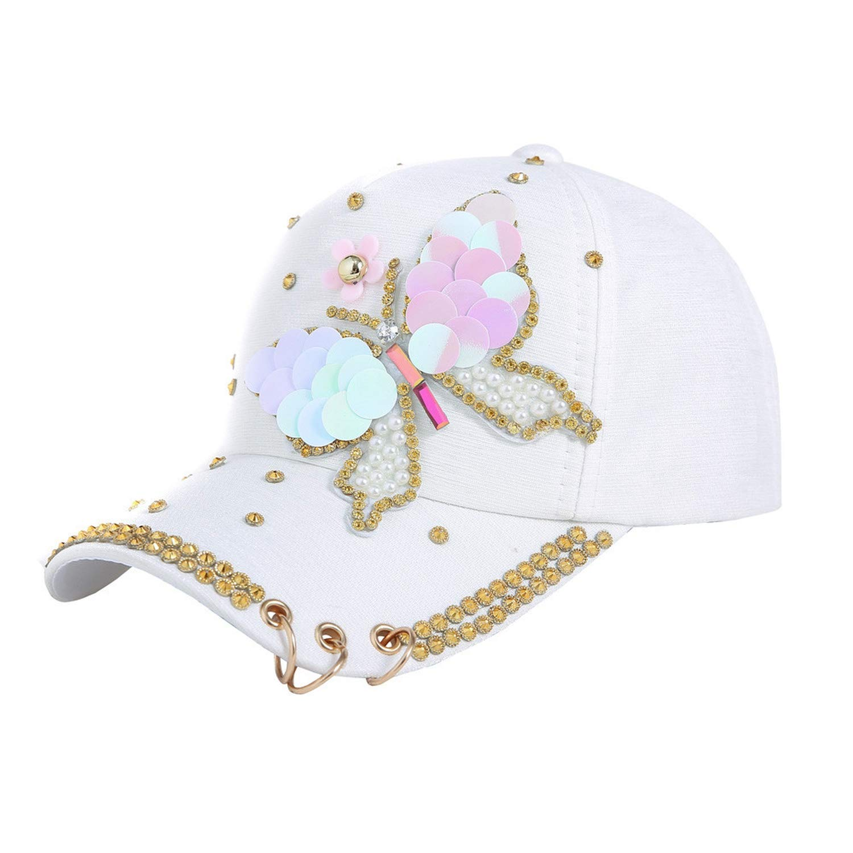 Women Baseball Cap Hats Rhinestone Beads Butterfly and Flower Pattern Female Sports Sun Hat