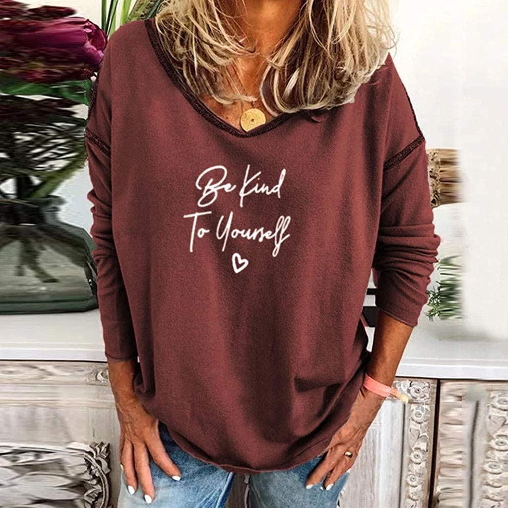 FACAIAFALO Womens Be Kind to Yourself T Shirt Letter Print V Neck Long Sleeve Loose Tops