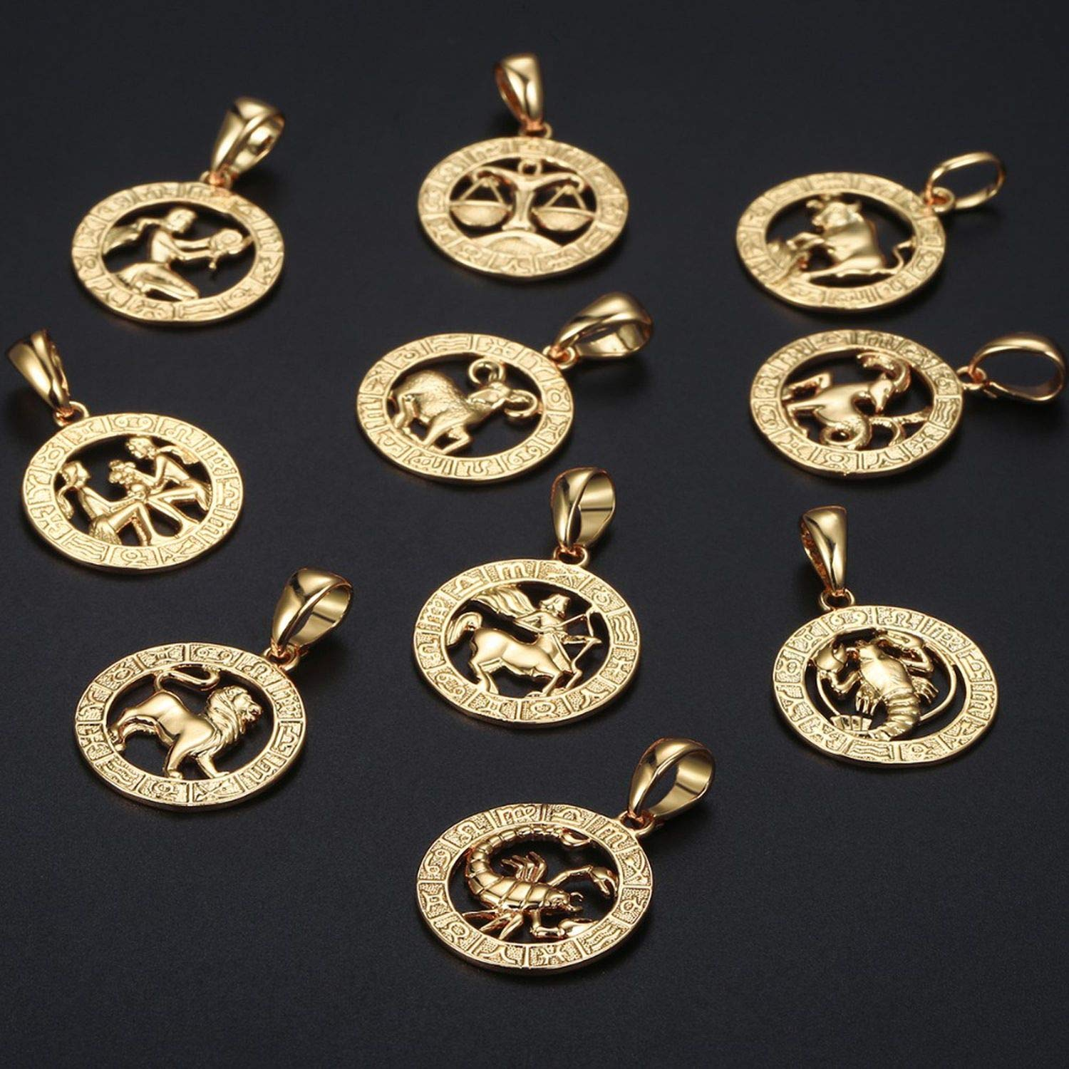Youthern Mens Womens 12 Horoscope Zodiac Sign Gold Pendant Necklace Aries Leo 12 Constellations Jewelry