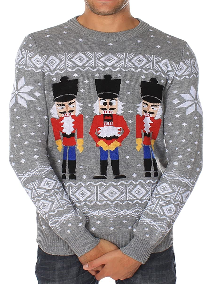 038dc2a1 Amazon.com: Tipsy Elves Men's Ugly Christmas Sweater - The Nut Cracker  Funny Sweater Grey: Clothing