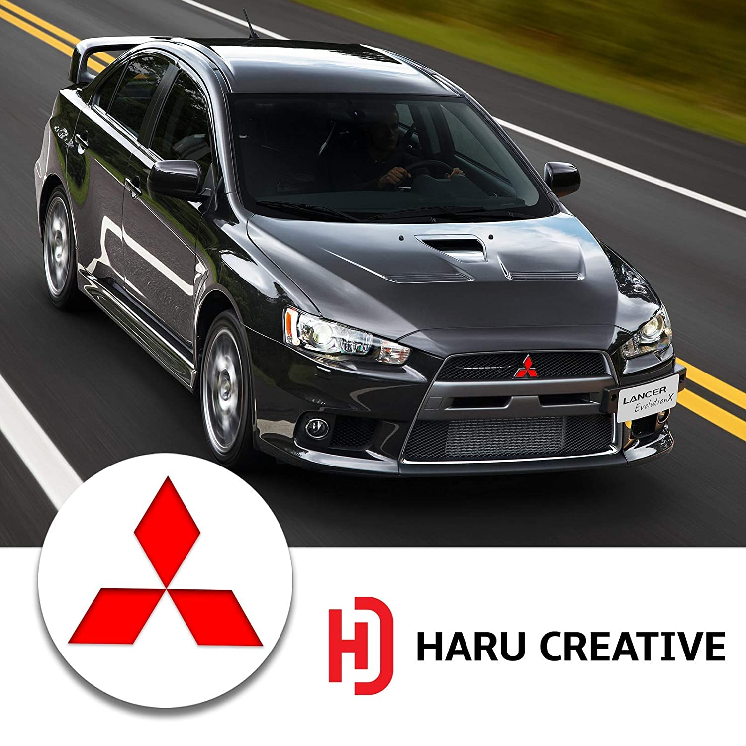 - Matte Gold Loyo Front Hood Grille Rear Trunk Tailgate Overlay Vinyl Decal Sticker Compatible with and Fits All Mitsubishi Lancer 2008-2014 Haru Creative