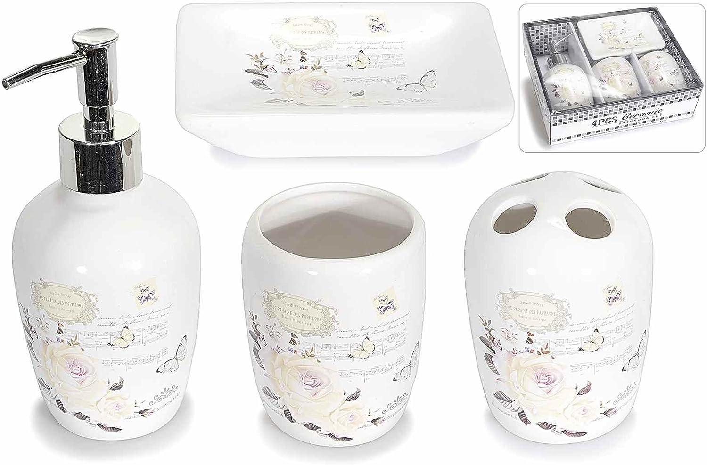 Accessori Bagno In Ceramica Decorata.Set Accessori Da Bagno In Ceramica Decorata Set Da Quattro Pezzi Amazon It Casa E Cucina