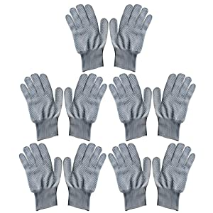 5 Pair Unisex Heat Resistant Heat Blocking Glove for Curling Flat Iron Curling Wand Hair Styling Gray