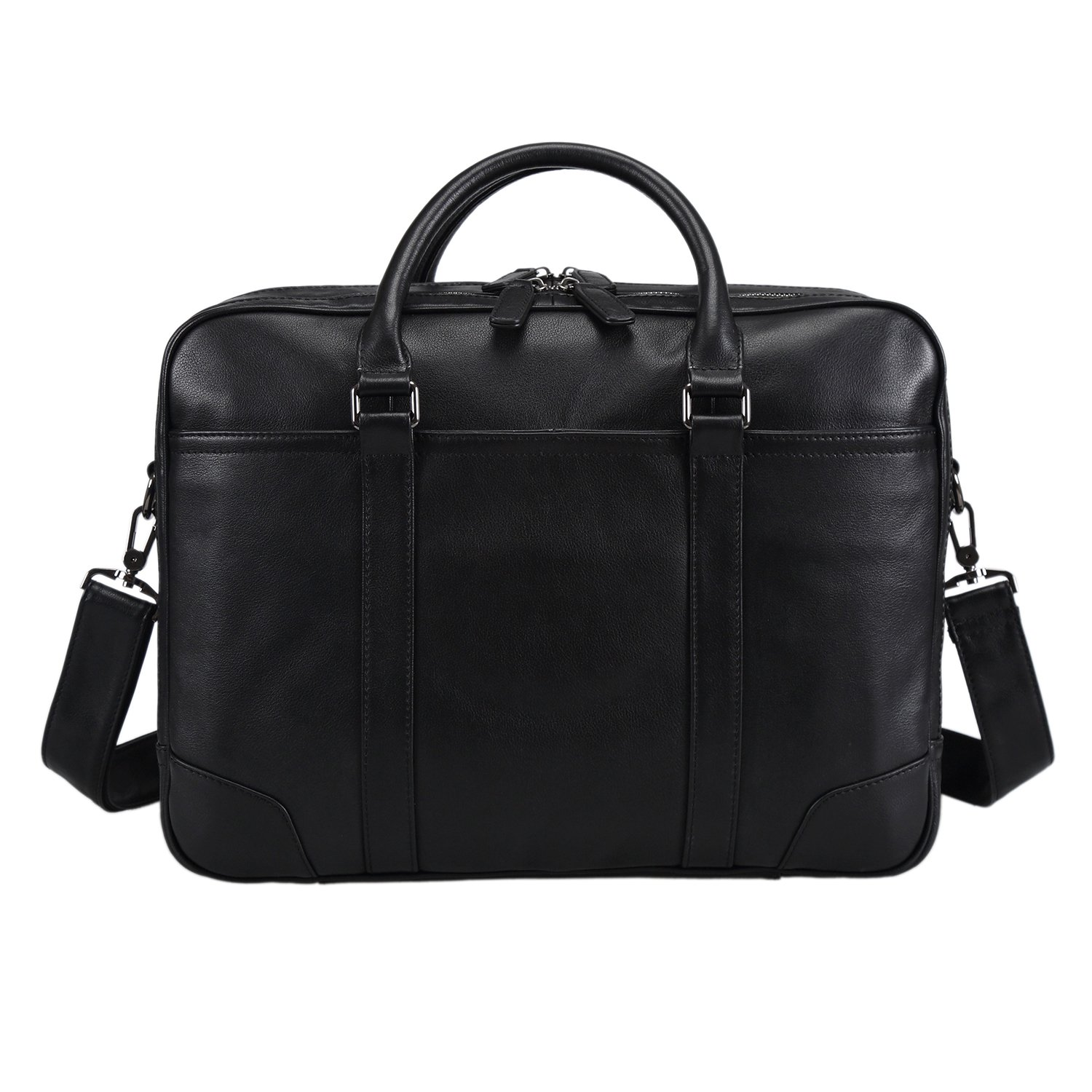 Polare Soft Real Leather Double zipper Laptop Computer 15'' Briefcase Business Bag by Polare (Image #2)