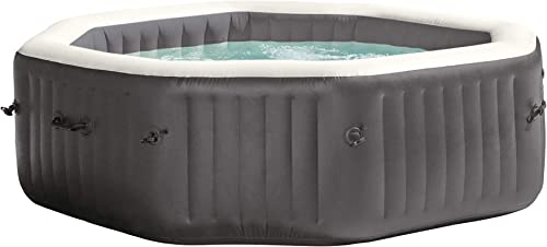 Intex 28417WL PureSpa 6 Person Fiber-Tech Construction Portable Octagonal Inflatable Hot Tub Spa