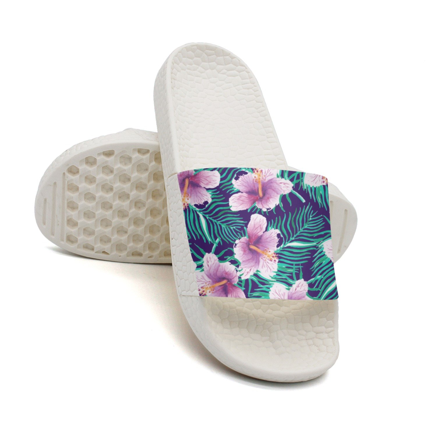 Ether Dobbin Unisex Hawaiian Flower Anti-Slip Slippers Athletic Slide Sandals