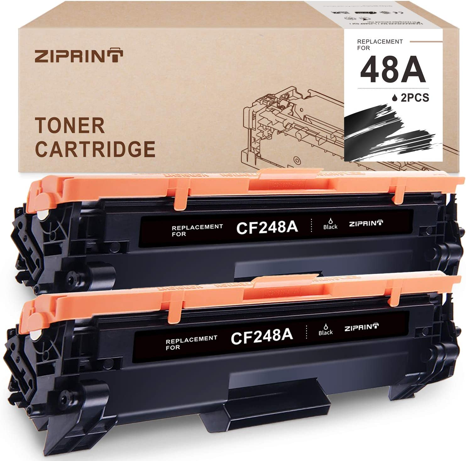 ZIPRINT Compatible Toner Cartridge Replacement for HP 48A CF248A for HP Laserjet Pro M16 M15 M31w Pro MFP M28 M29 Prnter (Black, 2-Pack)